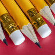 Several pencils with erasers — Stock Photo