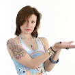Girl with a tattoo — Stock Photo