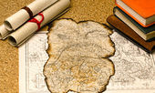 Old map with burnt edges — Stock Photo