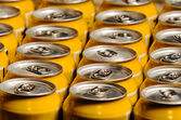 Series of metal beverage cans — Stock Photo