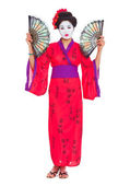 Full length portrait of geisha with fans isolated on white — Stock Photo
