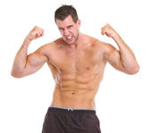 Portrait of angry muscular sports man — Stock Photo
