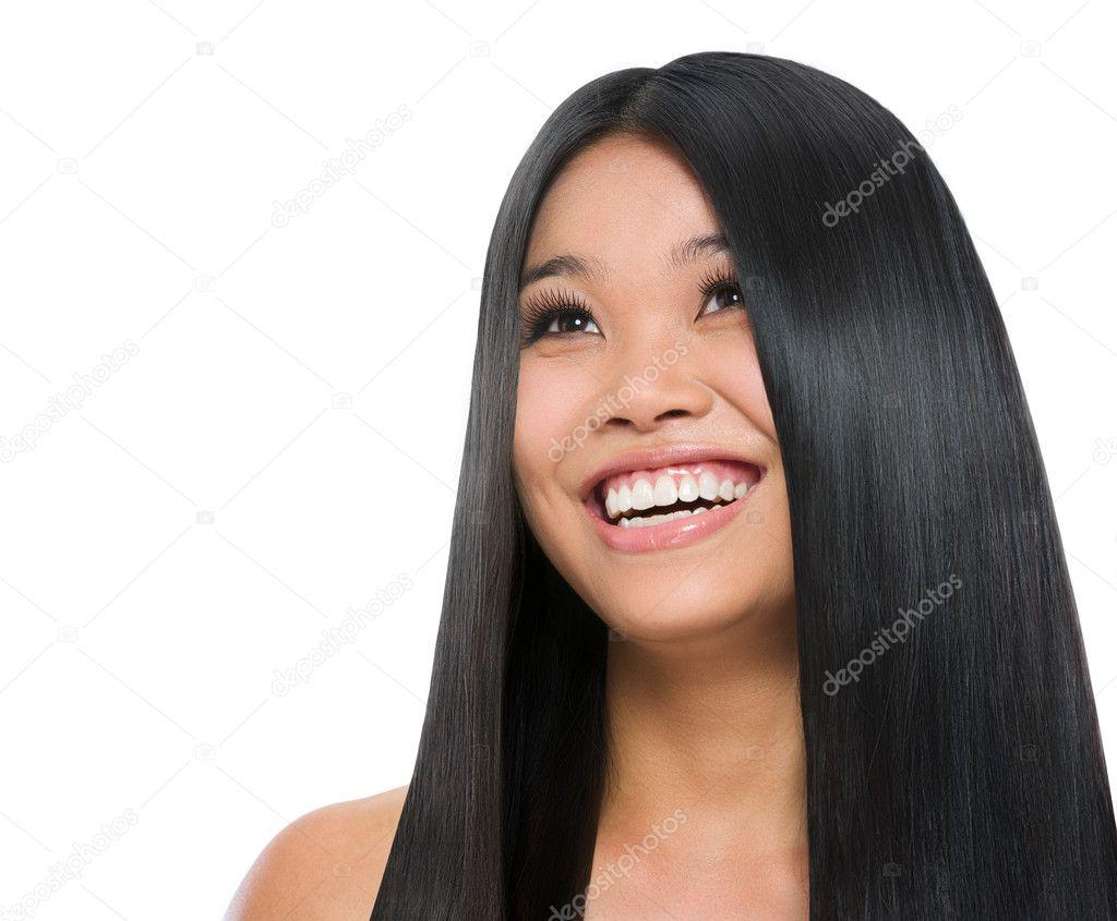 Beauty Portrait Of Smiling Asian Girl Healthy Long