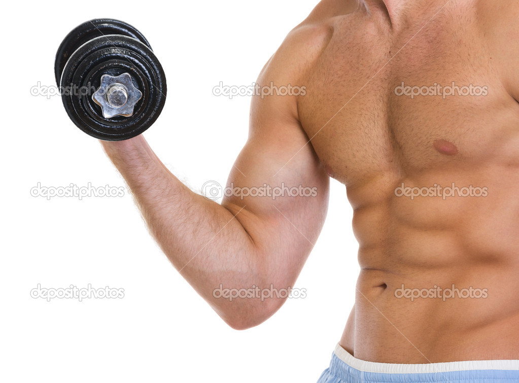 Closeup on muscular man workout biceps with dumbbell — Stock Photo #12442717