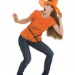 Scared young woman in Halloween hat — Stock Photo