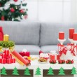 Table with Christmas decorations - Stock Photo