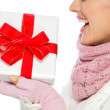 Closeup on Christmas present box in hand of woman in winter clot - Stock Photo