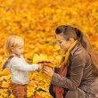 Young mother showing baby fallen leaves - Stock Photo