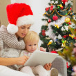 Mother and baby girl using tablet PC near Christmas tree - Stock Photo