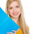 Portrait of happy student girl with book — Stock Photo #21515073