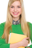 Portrait of happy student girl with books — Stockfoto