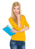 Portrait of happy student girl with book — Stockfoto