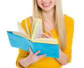 Closeup on student girl leaf through book — Stock Photo