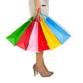Sacos de compras na mão da mulher — Foto Stock