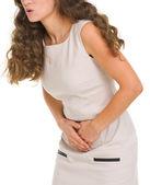 Closeup, mulher com dor de estômago — Foto Stock