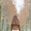 Young woman in winter park. rear view — Stock Photo