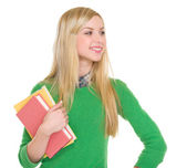 Student girl looking on copy space — Stock Photo