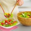 Closeup on woman served plate with fresh vegetable salad — Stock Photo