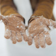 Stock Photo: Closeup on womhand in snowed gloves