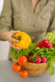 Closeup on woman with plate of fresh vegetables — Stock Photo