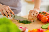 Closeup on woman cutting fresh dill — Stock Photo