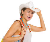 Portrait of smiling young beach woman in hat — Stock Photo