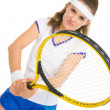Stockfoto: Happy female tennis player in stance