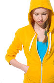 Closeup on modern teenager girl in sweater with draped hood — Stockfoto
