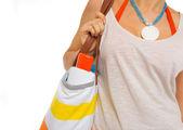 Closeup on sun block creme in bag of beach woman — Stock Photo
