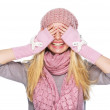 Happy teenager girl in winter hat and scarf closing eyes — Stock Photo