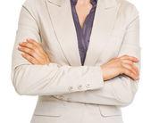 ビジネスの女性の交差させた手のクローズ アップ — ストック写真