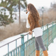 Happy young woman enjoying winter — Foto Stock