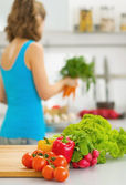 Closeup on vegetables on cutting board — Stock Photo