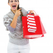 Woman in sweater with shopping bag — Stock Photo