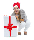 Woman in sweater and christmas present box — Stock Photo