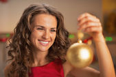 Housewife in christmas — Stockfoto