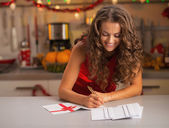 Housewife in christmas — Stock Photo