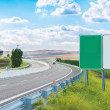 Two empty road signs near highway — Stock Photo