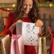 Happy young woman checking bags after christmas shopping — Stok fotoğraf