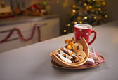 Closeup on christmas snack on kitchen table — Stockfoto