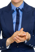 Businesswoman clapping — Stock Photo