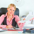 Happy business woman showing document — Stock Photo #8634004