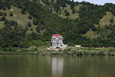 Hotel on the Danube lake — Stock Photo