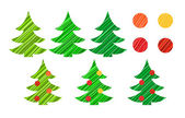 Christmas tree and decorations vector set — Stock Photo