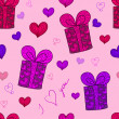 Stock Photo: Seamless pattern with gift boxed and hearts