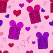 Seamless pattern with gift boxed and hearts — Stock Photo