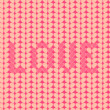Knitted Love inscription seamless pattern - Stock Photo