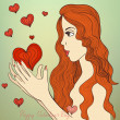 Valentine girl — Vector de stock