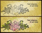 Vintage vector banners with stylized flowers. — Stock Vector