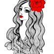 Beautiful girl with red flower in hair — Stock Vector